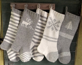 Christmas Stocking Personalized Wool Hand knit Grey and White Stripes Deer Tree Snowflake ornament Christmas decoration