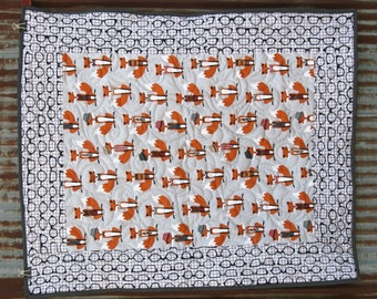 The Fox and the Houndstooth Baby Quilt- READY to SHIP!