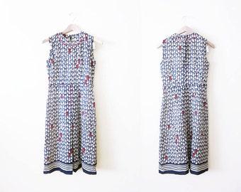 60s Dress / Novelty Print / Pear Fruit Print Sundress / Sleeveless / Red White Blue