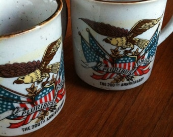 Vintage Pair of Bicentennial Ceramic Mugs 1976 Lorrie Designs The 200th Anniversary USA American Flag Eagle Japan Coffee Cups