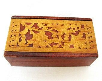 Vintage wooden carved jewelry box Hand made fretwork 60s