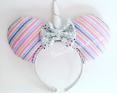 Unicorn Mouse Ears // Rainbow Unicorn Mouse Ears // by Born Tutu Rock