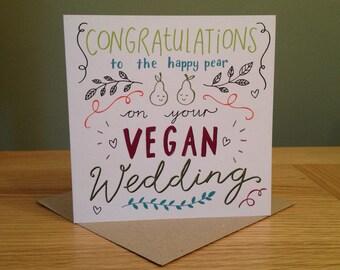Vegan Wedding Card - Congratulations to the Happy Pear on your Vegan Wedding - Eco Friendly