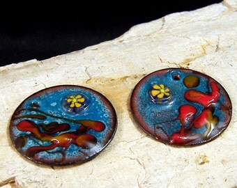 Torched  Enameled Copper Disk-Hippie Chic-25mm-Bohemian Beads-Boho