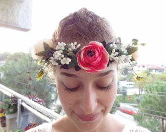 Red,Pink Rose Flower Crown, Wedding Hair Wreath, Bridal Flower Crown, Hair Accessories, Bridesmaid Gift, Woodland