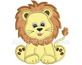 Zoo Baby Lion Cub Applique Machine Embroidery Design Jungle Boy Cute Safari animal INSTANT DOWNLOAD