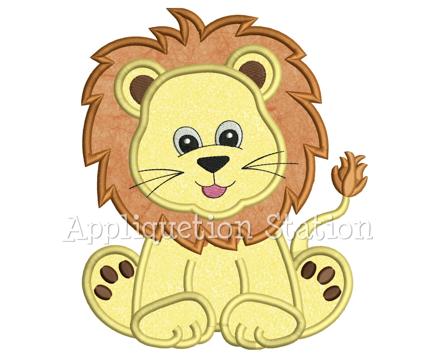 Zoo baby lion cub applique machine embroidery design jungle