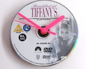 Breakfast At Tiffanys DVD CLOCK. Made from a recycled movie dvd. Audrey Hepburn, pink and white, cute gift for girl ladies office co workers