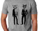 Men's Cat T-Shirt Hand Screen Printed Soft Thin Funny Cat Shirt