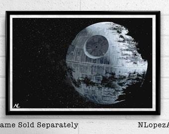 Death Star Star Wars illustration of Empire, Sci-fi Film, Movie Pop art, Home Decor, Geeky Poster, Nerdy Print Canvas