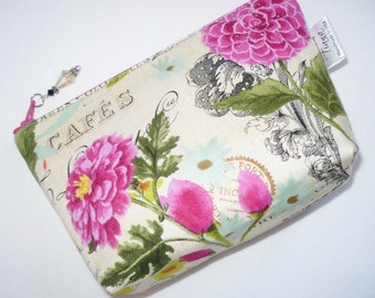 Floral cosmetic bag, pouch, make up bag, toiletry bag, small