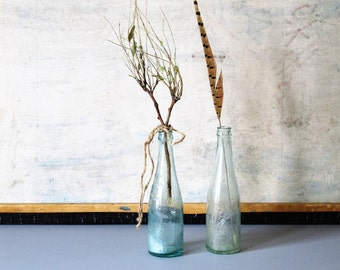 Vintage glass bottles, minimalist decor