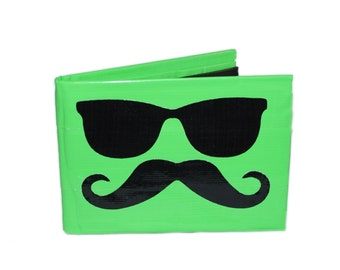 Blue and Black Mustache With Shades Duct Tape Wallet