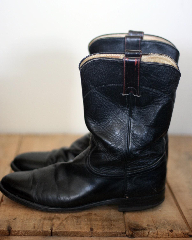 vintage justin roper boots mens size 8 5d black leather