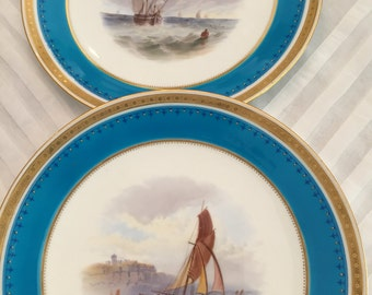 2 Antique Minton Decorative Plates/ Grisaille Hand Painted / Decorative Topography/Deep Turquoise Border/1800s/Wedding Gift /Cabinet Display