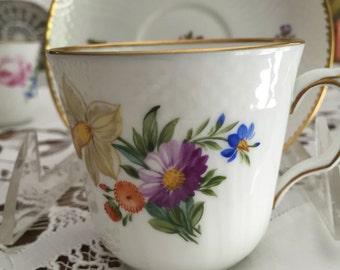 20 Piece Royal Copenhagen Botanical Tea Set/ Eight Cups/Eight Saucers/ Circa 1957/Signed/Cabinet Display/Wedding Gift/Tea Party