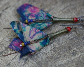 Bohemian *Gypsy Tassel* Series earrings 244 - wanderlust artisan silk tassel . gypsy earrings . elongate light weight . Tribalis . flower