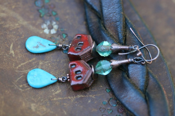 Rustic Romantic Artisan earrings n251 - Tribalis original . Turquoise stone . ceramic house . boho jewelry . bohemian jewelry . red house .