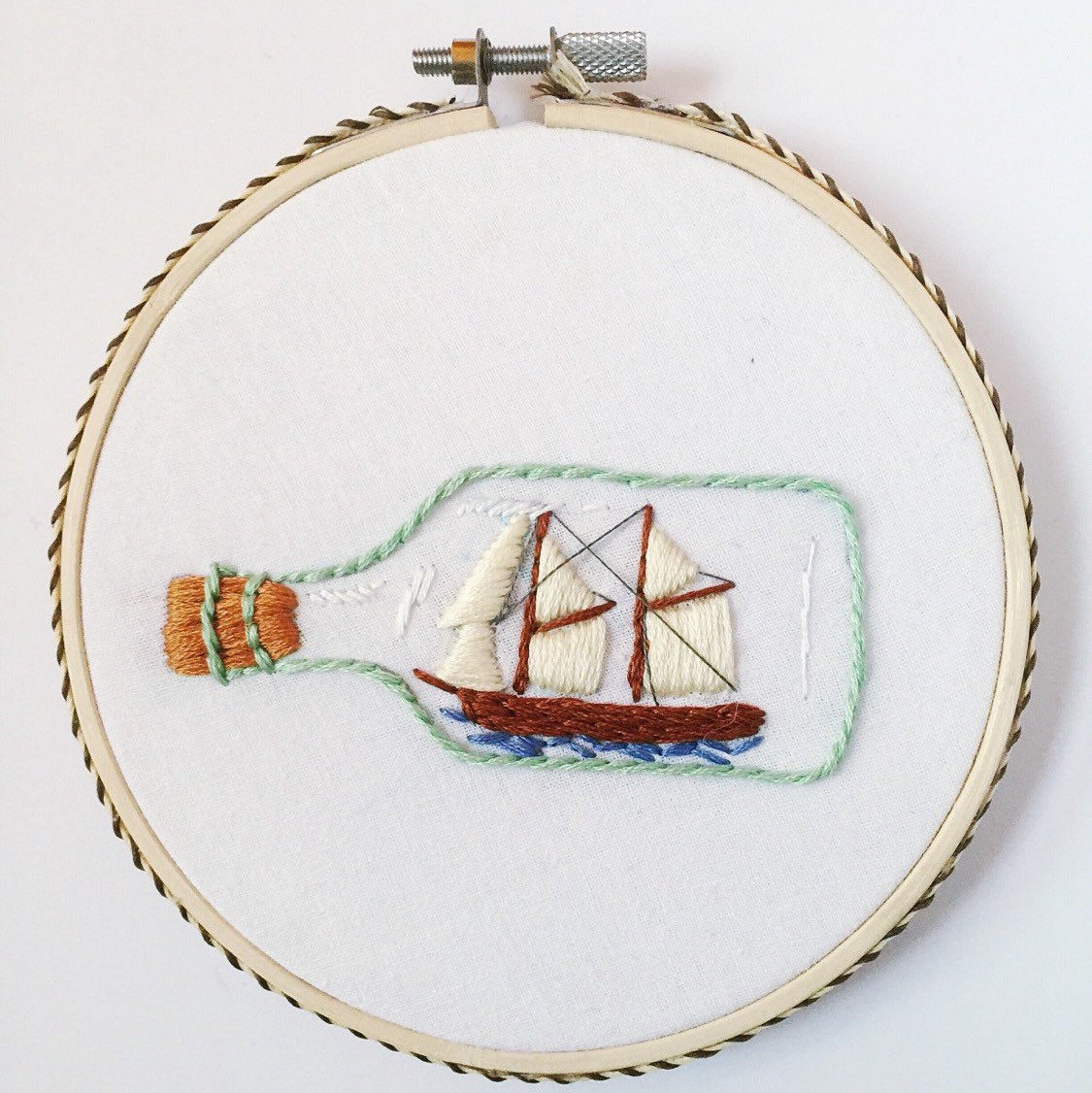 Embroidery hoop art nautical themed home decor ship in a