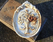 Old Cast Iron Wall Plaque Floral Flower Bouquet, Great Spring Garden Decore