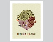 Sierra Leone Map Art Print, Sierra Leone Wall Decor, Freetown Sierra Leone