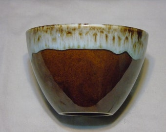 usa aqua brown drip bowl 3 inches tall 4 1/2 inches wide