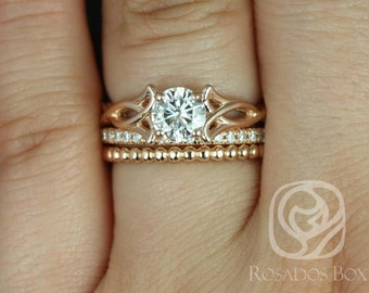 Rosados Box Orla 6mm, Pernella, & Bdha Bds 14kt Rose Gold Round F1- Moissanite and Diamonds Celtic Knot TRIO Wedding Set