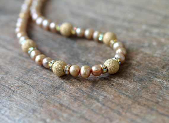 Champagne pearl necklace with gold beads Elegant taupe necklace Single strand freshwater pearl jewelry