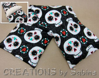 Microwaveable Corn Neck Wrap, Washable Cover Corn Pillow Hot Cold Pack Sugar Skulls Skull Heart Black Day of Dead READY TO SHIP (487)