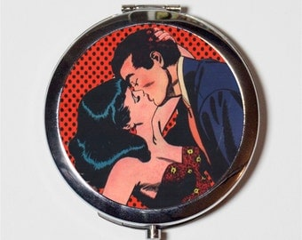 Comic Book Kiss Compact Mirror - Vintage 1950s Romance Comic Book Art Retro - Make Up Pocket Mirror for Cosmetics