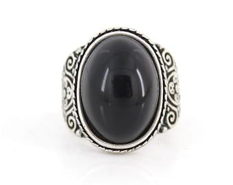 Elegant Silver-tone Black Oval Stone RING,Size 7.5 <B18>