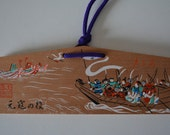 Japanese ema, hand painted  or screen printed wood #66