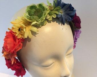 Flower headband- rainbow flower garden- boho headband-Burning man -Headdress NY- flower girl- flower crown- Flower Headpiece