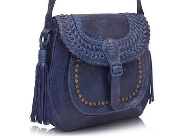 LA BONITA. Leather crossbody / blue bag / leather messenger bag / leather shoulder bag / boho bag. Available in different leather colors