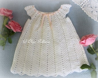White Ripple Dress, Girls Dress Size 12-18 Months, Crochet Pattern, Instant Download