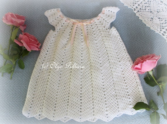 White Ripple Dress, Girls Dress Size 12-18 Months, Crochet Pattern, Instant Download