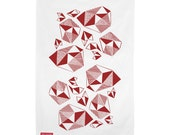 Pattern Play Screen Printed Kitchen Tea Towel – fuchsia, red, cotton, hand print, geometric, eco friendly ink, free shipping australia