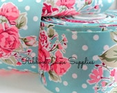 """3"""" wide Ribbon by the Yard Vintage Floral Aqua pink roses- sewing crafts wreaths  by Ribbon Lane Supplies"""