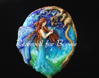 Reserved for Bonnie, Friends Under the Stars, XX Large Handmade Lampwork Moretti Glass Fairy and Dragon Focal Bead