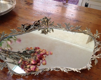 Shabby chic mirror, French decor, ornate ,large mirror,Vintage mirror tray cherub and bird   french  decor filigree vanity table mirror