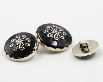 6 Pcs 0.71~0.98 Inches High-grade Black Gold Flower Pattern Plastic Shank Buttons For Coats