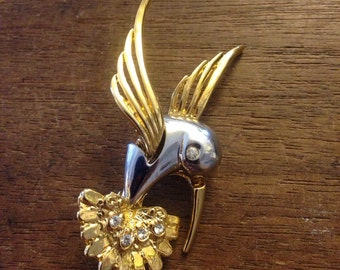 Hummingbird Two Toned W/ Rhinestones Pin/Brooch