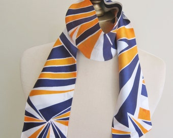 1960s tie scarf, geometric scarves, mod oblong scarf, 60s fashion, blue and orange, vintage scarves, hair wrap, long neck scarf