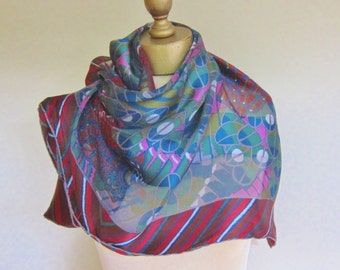 LANVIN Paris silk scarf.hand rolled, moody, French silk scarf, rich colors