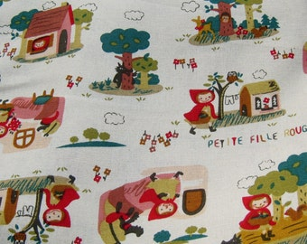 Off White Little Red Riding Hood Cotton Fabric, Fabric By The Yard, Cotton Fabric, Kawaii Fabric,  Cotton Fabric,Fairy Tale Fabric