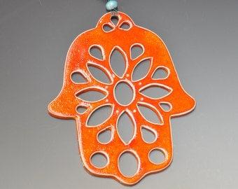 Orange ceramic Hamsa Hand, wall hanging w/ bright orange glaze, ready to ship, Home decor, House worming gift, Holidays gift, wedding gift