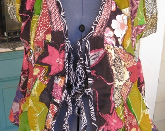 PATCHWORK COLLAGE VEST, Gypsy Top, Zen Boho Silk Art-to-Wear, Altered Couture