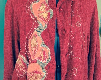 ELEGANT RESORT TOP, Rich Red Silk Cocktail Top, Wine Tasting, Asymmetrical, Arty Hand-stitching, Gorgeous buttons, Embossed Floral Pattern