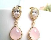 Blush Pink Earrings ,Pink Opal Gold Wedding Earrings,Bridesmaid, Personalized, Drop,bridal earrings, post earrings,Holiday GIFTS