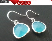 Mint blue Summer Earrings, Drop, Dangle, Glass Earrings, bridesmaid gifts,Gemstone,Wedding jewelry,Christmas Earrings